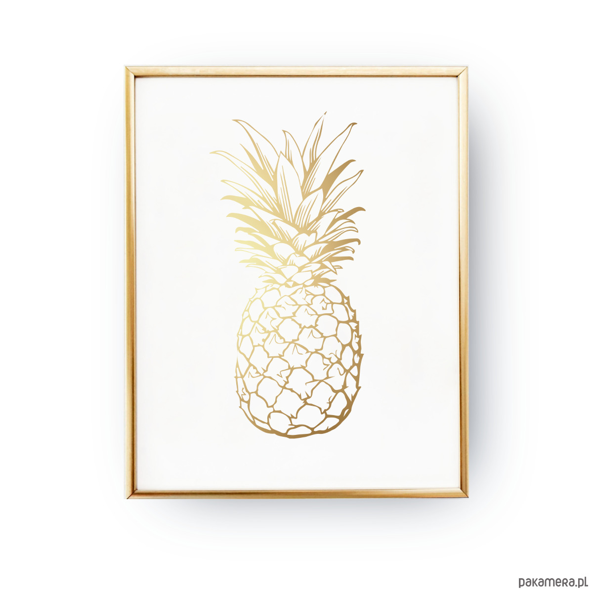 One Line Body Art : Plakat ananas złoty błyszczący druk plakaty