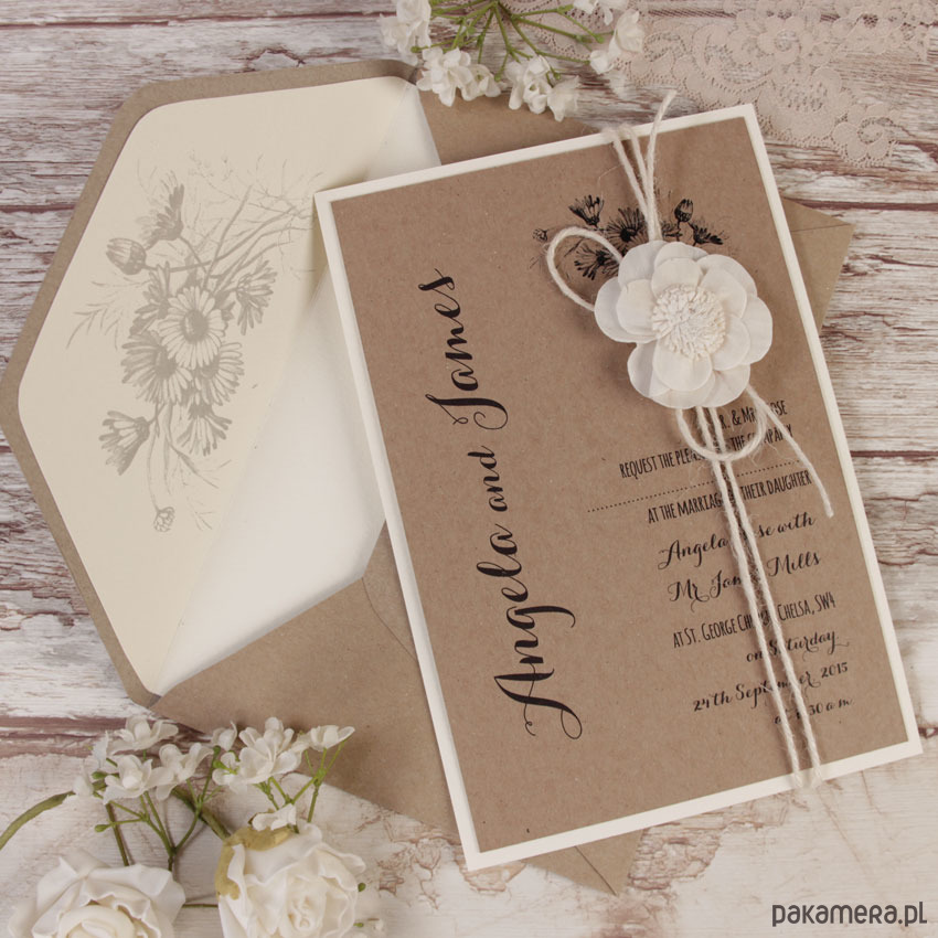 Vintage kraft paper wedding invitations
