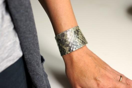 bransoletki - inne-Srebrny wąż bransoletka