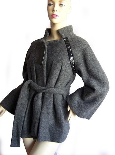 kurtki i płaszcze-stylowy płaszcz z włoskiej wełny-36/38
