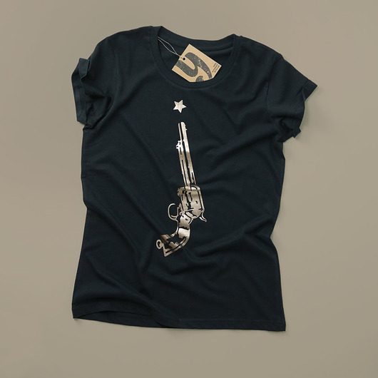 bluzki - t-shirty - damskie-GOLDEN GUN koszulka z połyskiem