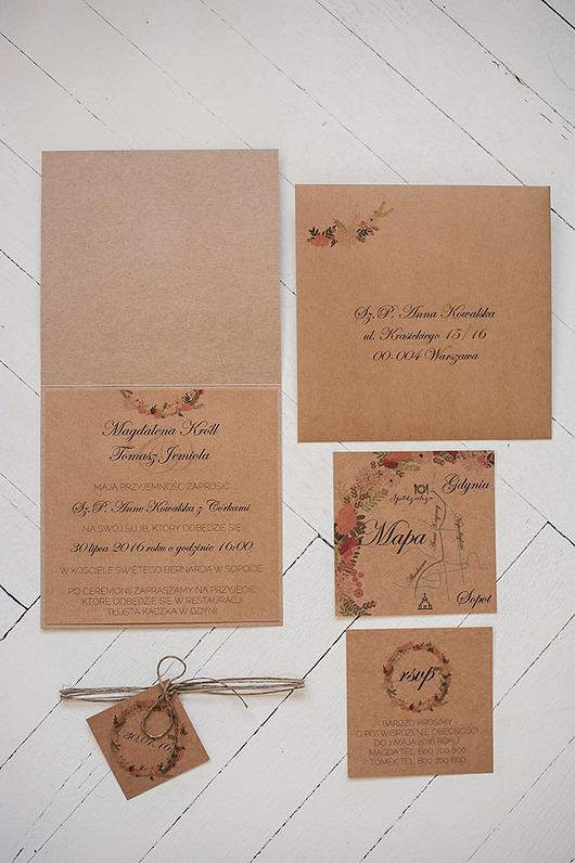 Ślub - zaproszenia, kartki-Zaproszenie ślubne RUSTIC FLORAL WREATH2