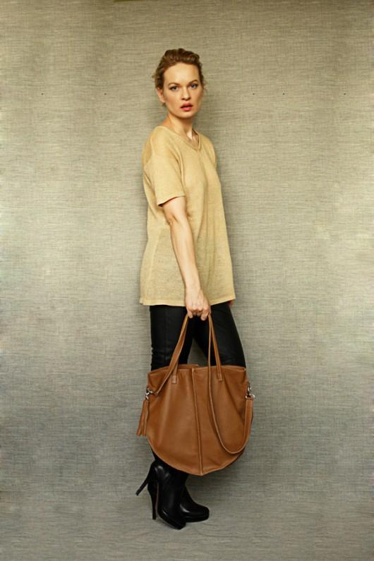 torby na ramię - damskie-Zipper Camel  Bag