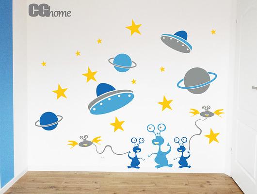 pokój dziecka - naklejki ścienne-ALE KOSMOS! na ścianę naklejki Obcy Kosmici