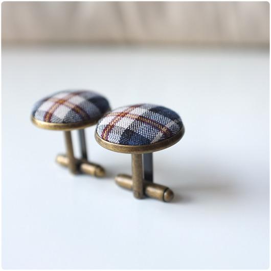 akcesoria - biżuteria-retro fabric - spinki w kratkę 2