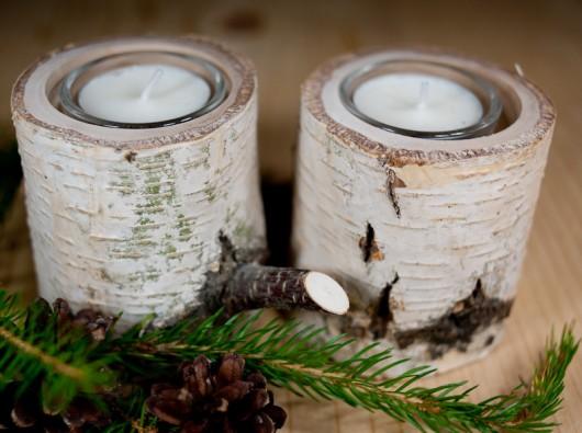 dodatki - świeczniki i świece-Świeczniki na tealighty z brzozy