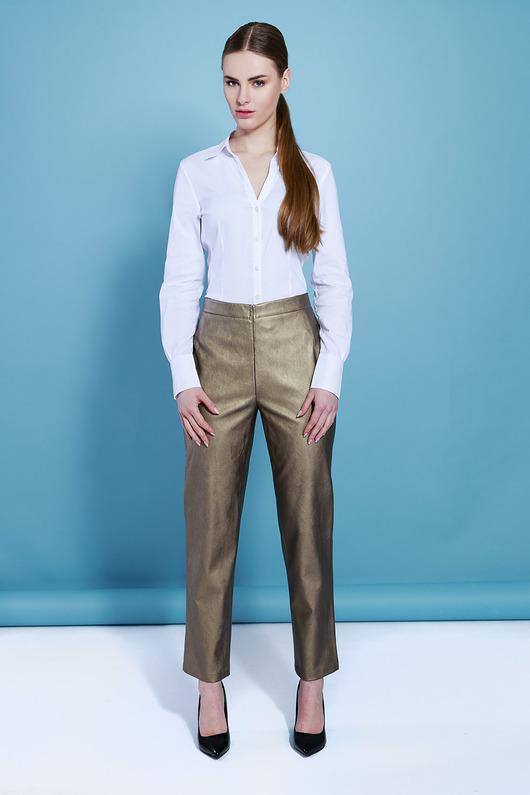 spodnie - inne-Złote spodnie z eko skóry