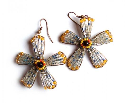 kolczyki - inne-Kwiatki z koralików