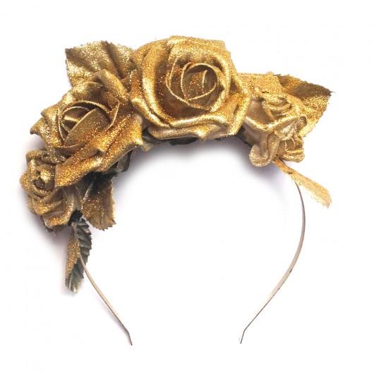 do włosów - inne-Złota opaska z kwiatów