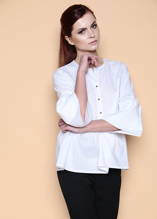 bluzki - tuniki-Biała elegancka bluzka