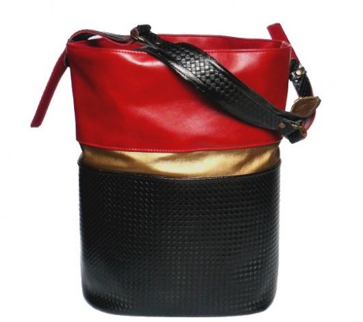 torby na ramię - damskie-Czerwona ze złotem