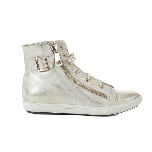 buty-Beżowe sneakersy ze skóry naturalnej