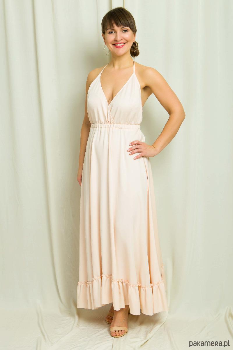 Sukienka maxi łososiowa bez pleców