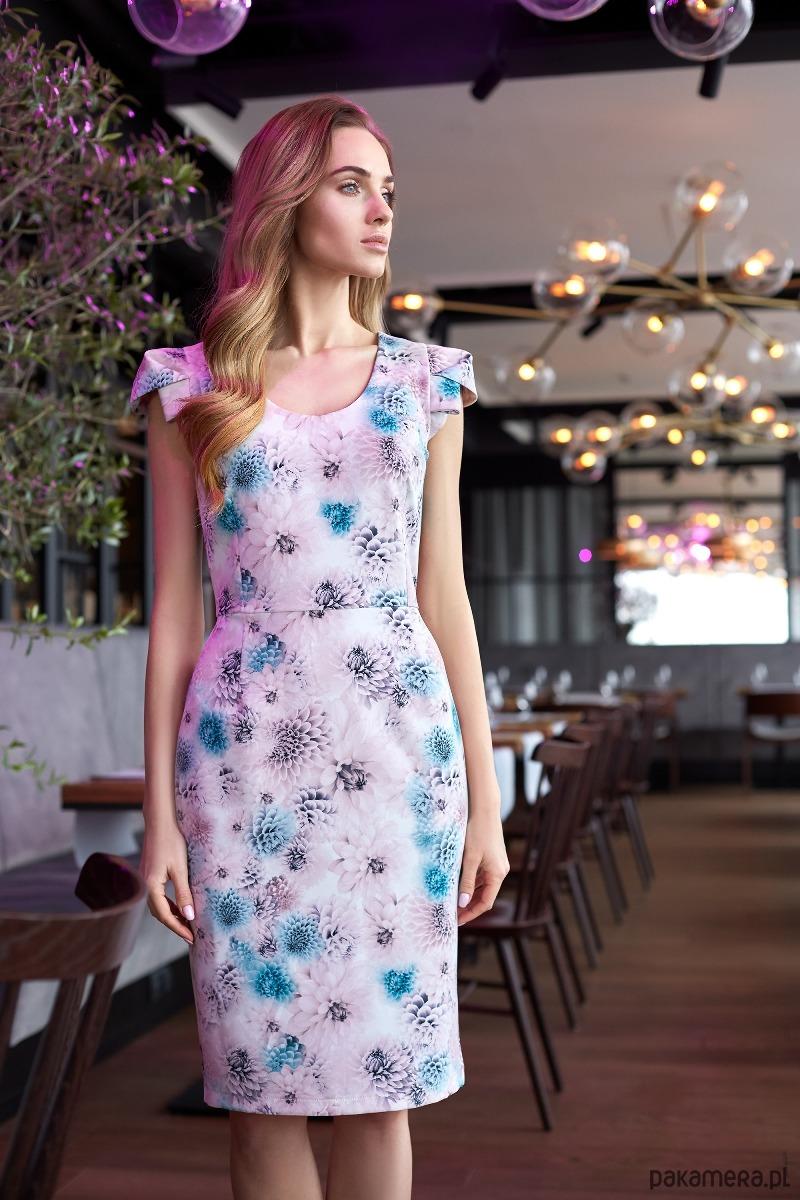 Sukienka ołówkowa z dekoltem i mini rękawami