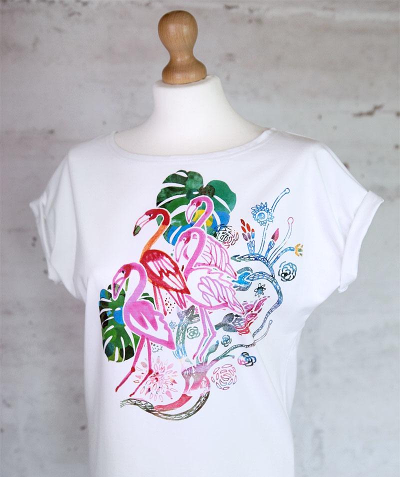 FLAMINGI koszulka bawełniana biała z nadrukiem