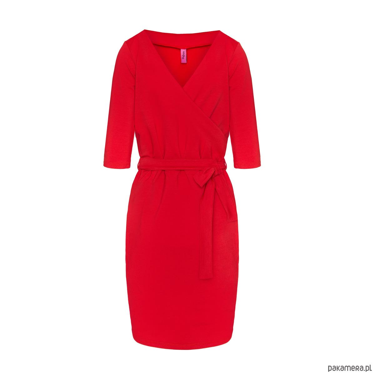 Sukienka kopertowa z dekoltem serek czerwona