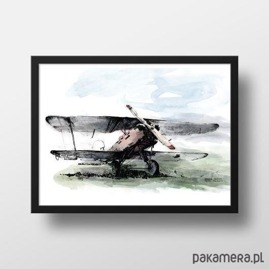 Plakat Samolot Dwupłatowy Kolorowy Pakamerapl