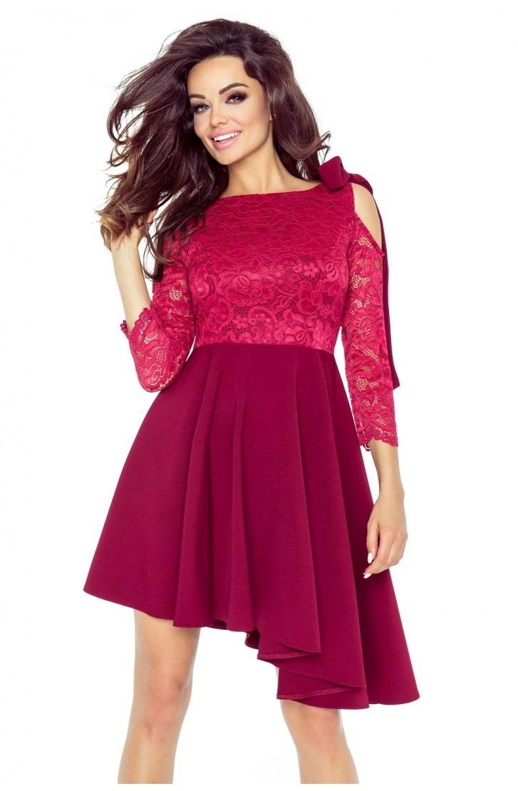 Sukienka z plisowaną spódniczką (BORDO)