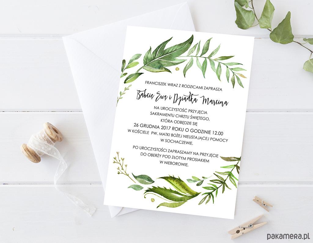 Zaproszenie Chrzest Urodziny Liście Chrzest Kartki Zaproszenia