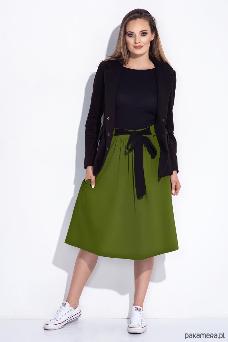 Zielona spódnica midi dresowa z kokardą z przodu