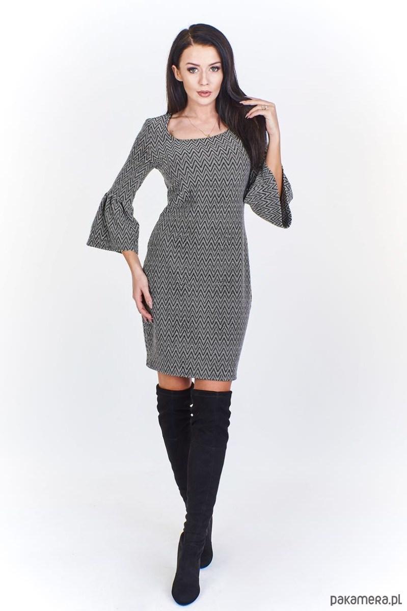 Ołówkowa sukienka Caro z rozkloszowanym rękawem