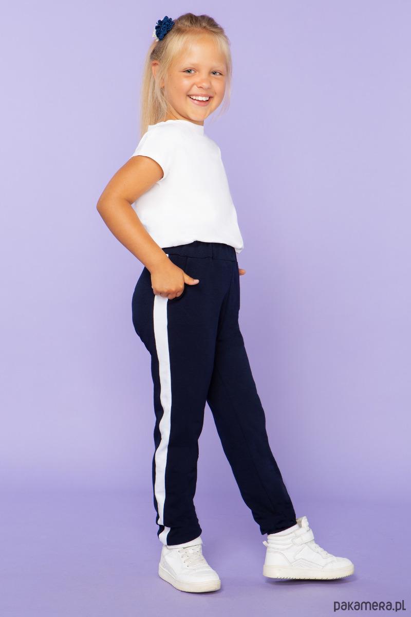 665a609c Spodnie dla dziewczynki z lampasem, granat - Pakamera.pl