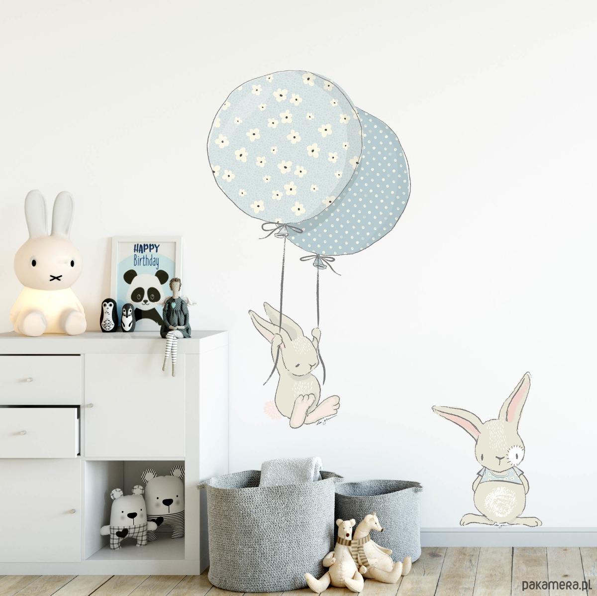 Naklejka Scienna Kroliki Z Balonami Blue Pokoj Dziecka Naklejki
