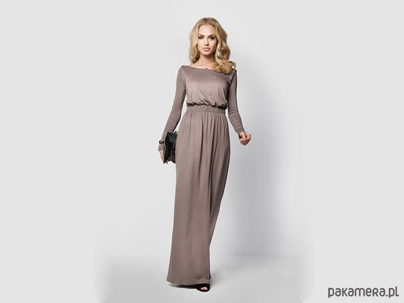 111db10068 Sukienka MAXI LONG długa do ziemi capuccino - sukienki - maxi ...
