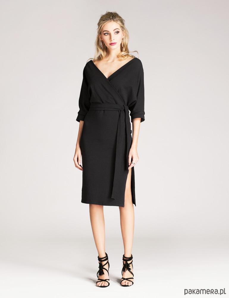 aaf6b176cd Sukienka kopertowa z eleganckiej dzianiny czarna - sukienki - różne ...