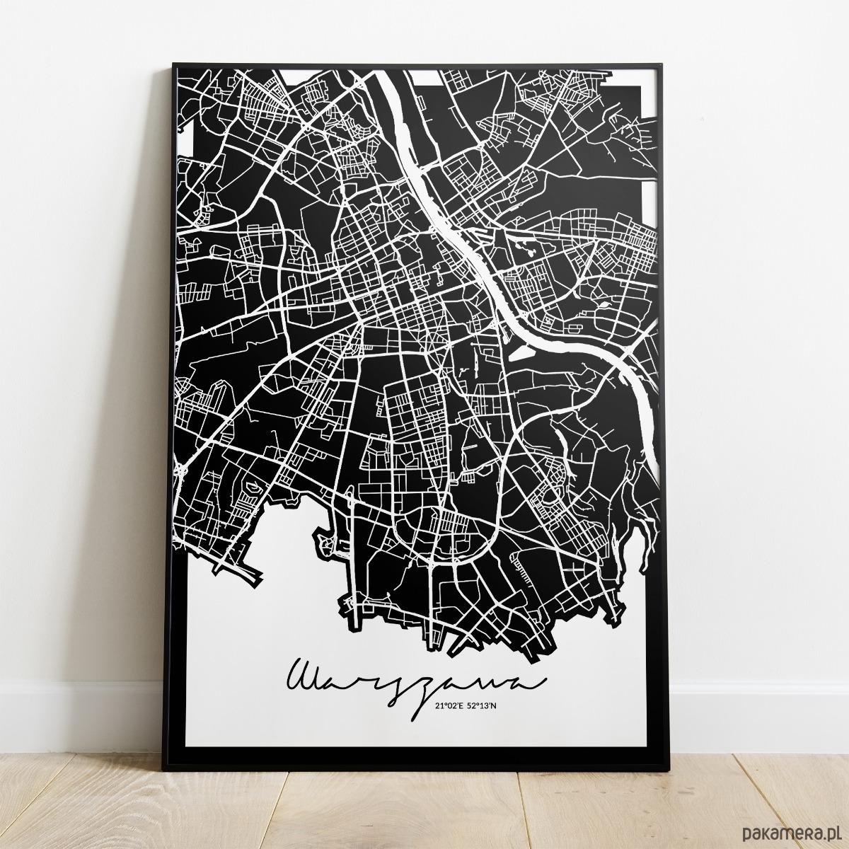 Plakat Warszawa Mapa Pakamerapl