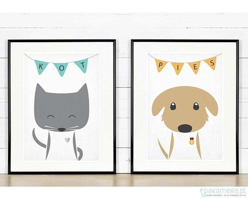 Zestaw Plakatów Kot Pies Zwierzęta 2 X A3 Pakamerapl