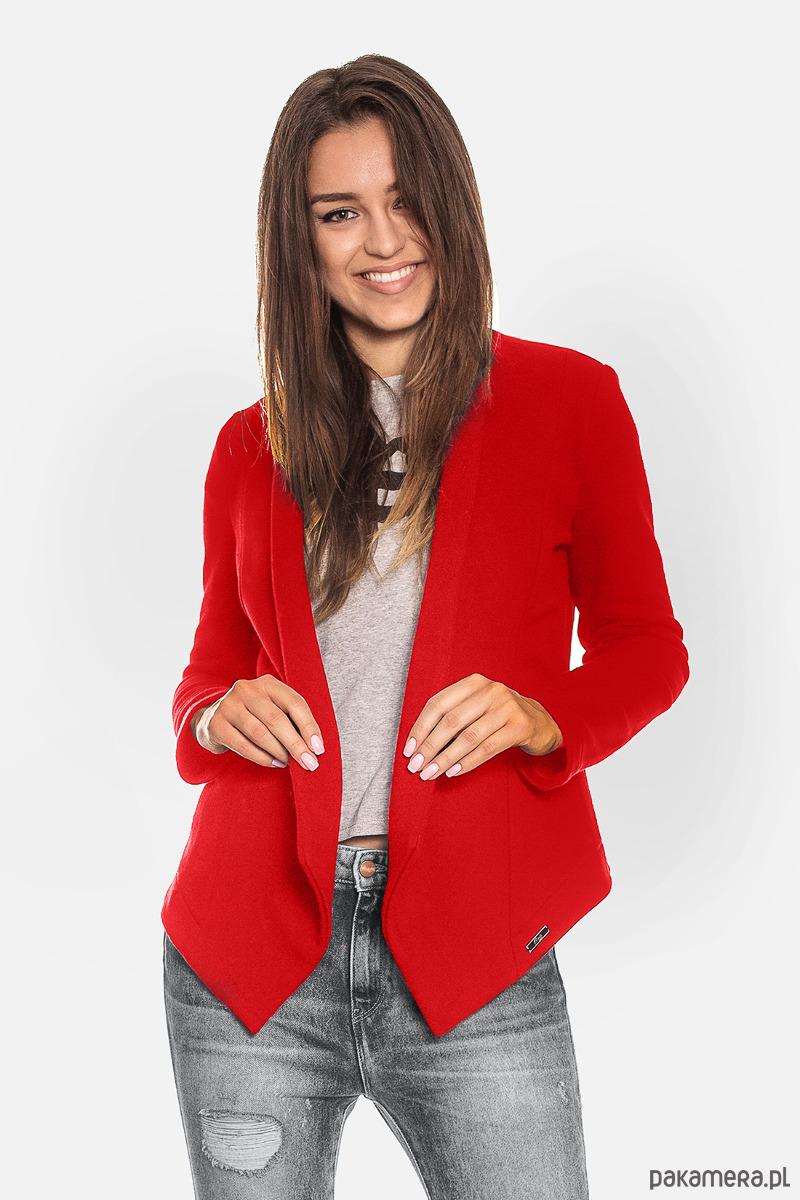 Czerwona otwarta bluza damska