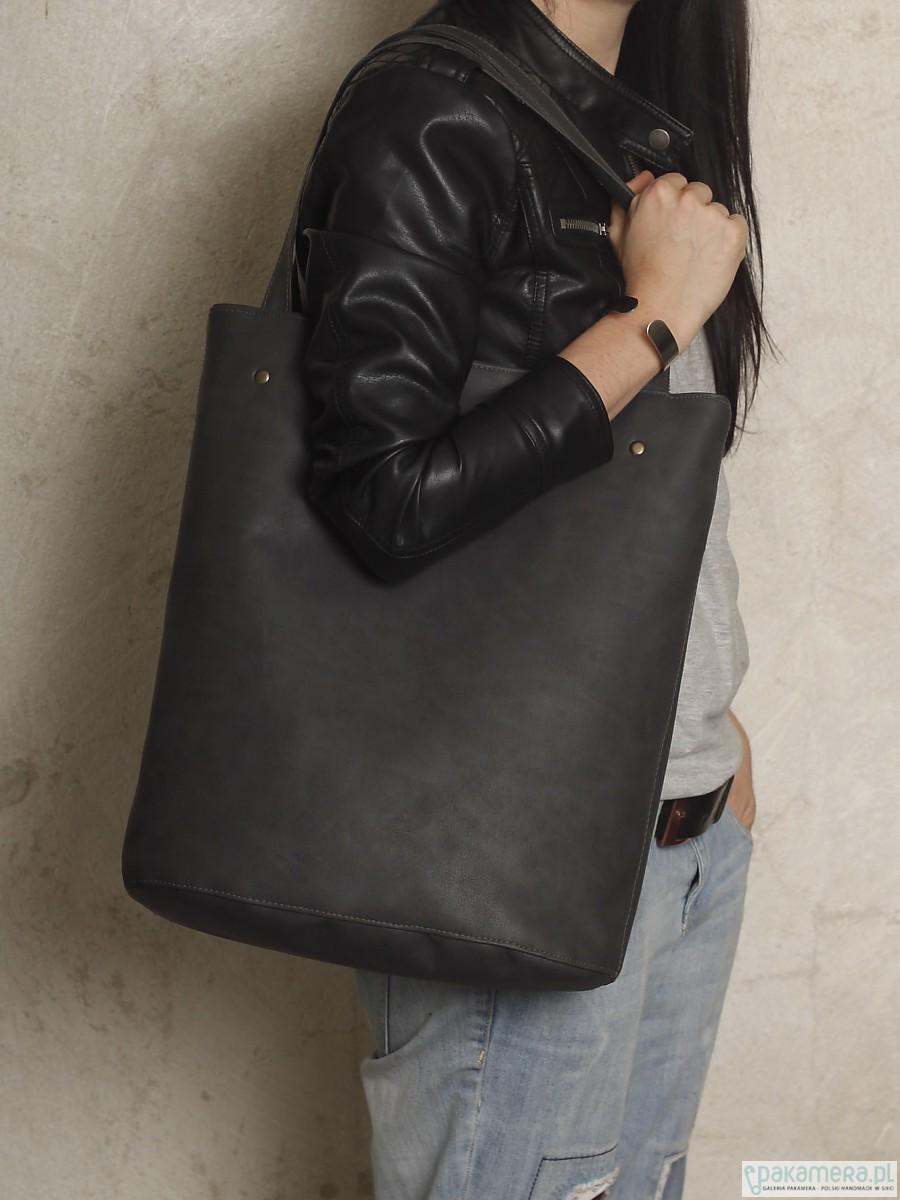 Shopper bag XL grafit na zamek pojemna torba