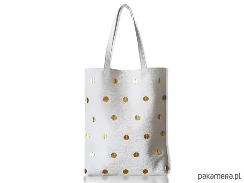 9ae0b858a0539 Skórzana torba w złote kropki biała - torby na ramię - damskie ...