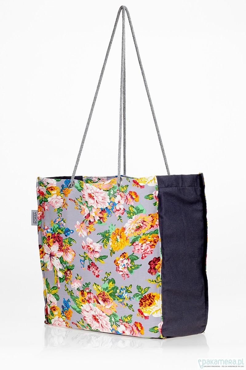 Duża składana torba na zakupy w kwiaty