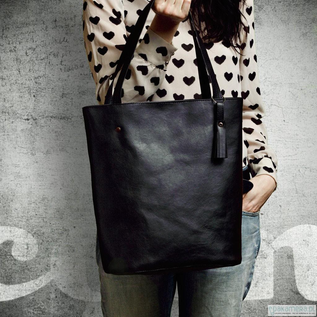 349edda7df9f2 Shopper bag-czarna - torby na ramię - damskie - Pakamera.pl