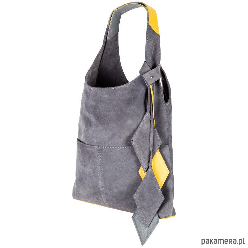 63193df9c2961 torby na ramię - damskie-Szara zamszowa miękka skórzana torba damska