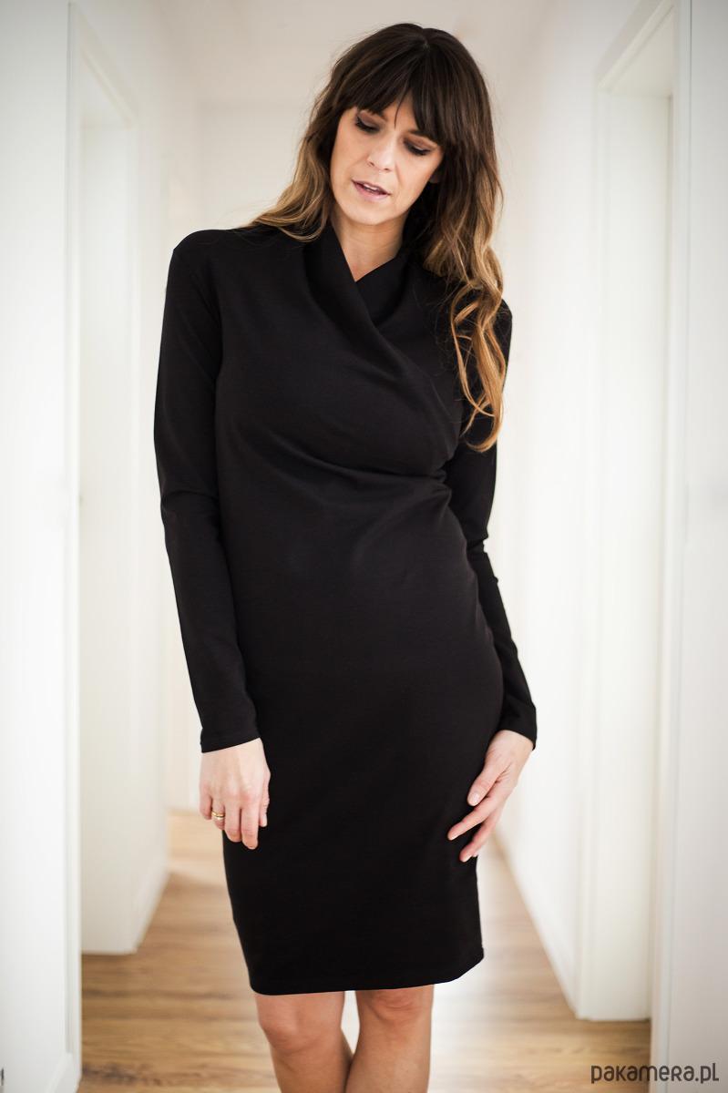 Sukienka kopertowa do karmienia czarna