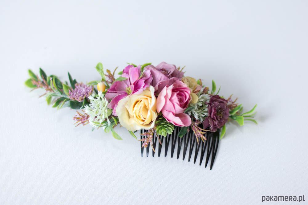 85a56bf32c56a2 Grzebień z kolorowymi kwiatami - do włosów - spinki i klamry ...
