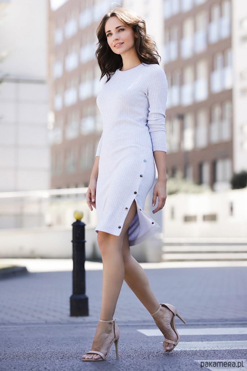 Sukienka K464 szary