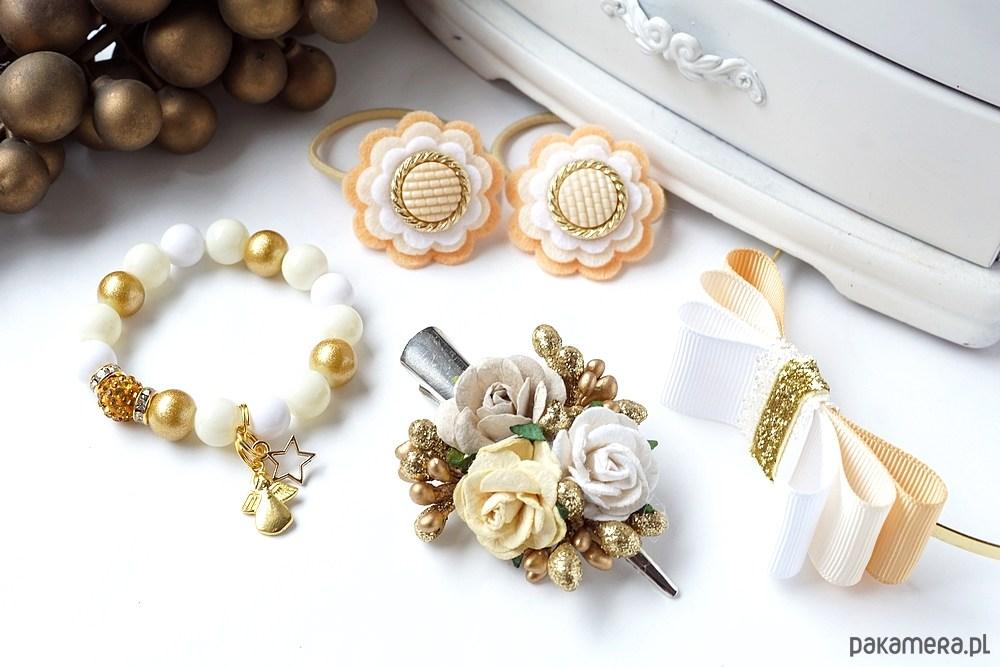 07db1d65c97830 akcesoria - ozdoby do włosów-Zestaw świąteczny złoty prezent dla dziewczynki