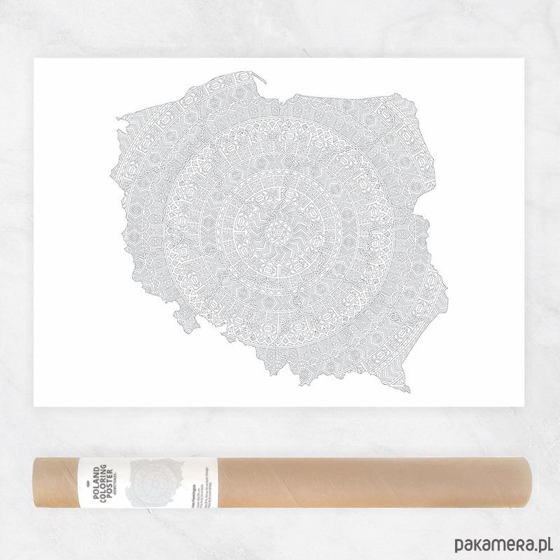 Mapa Polski Mandala Plakat Do Kolorowania Grafiki I Ilustracje