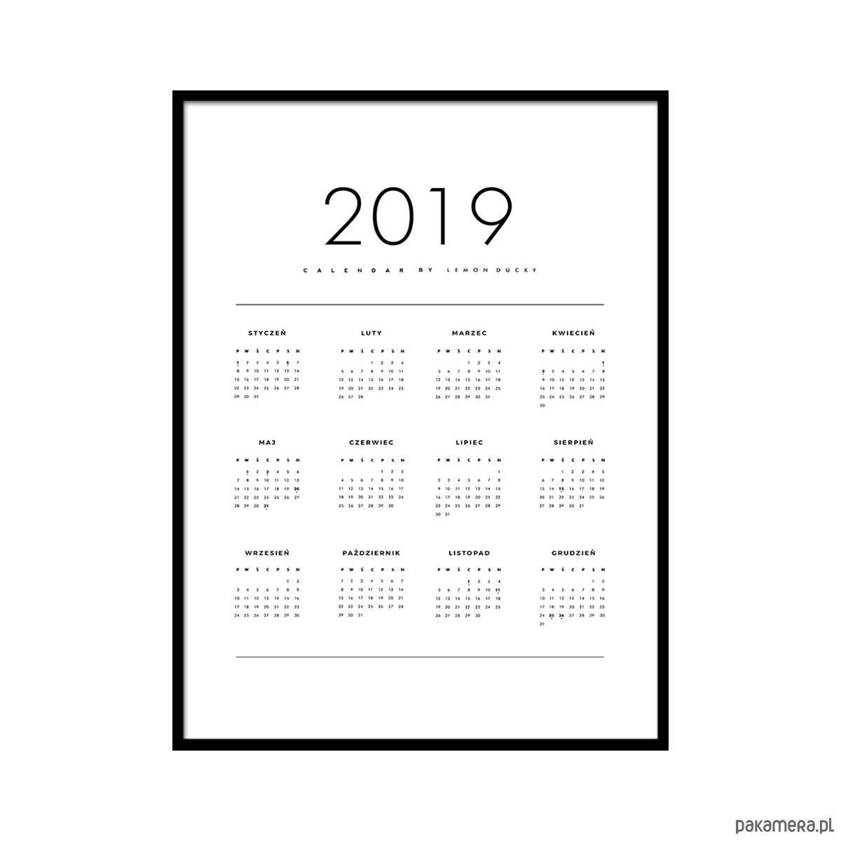 Plakat Kalendarz 2019 Plakaty Pakamerapl