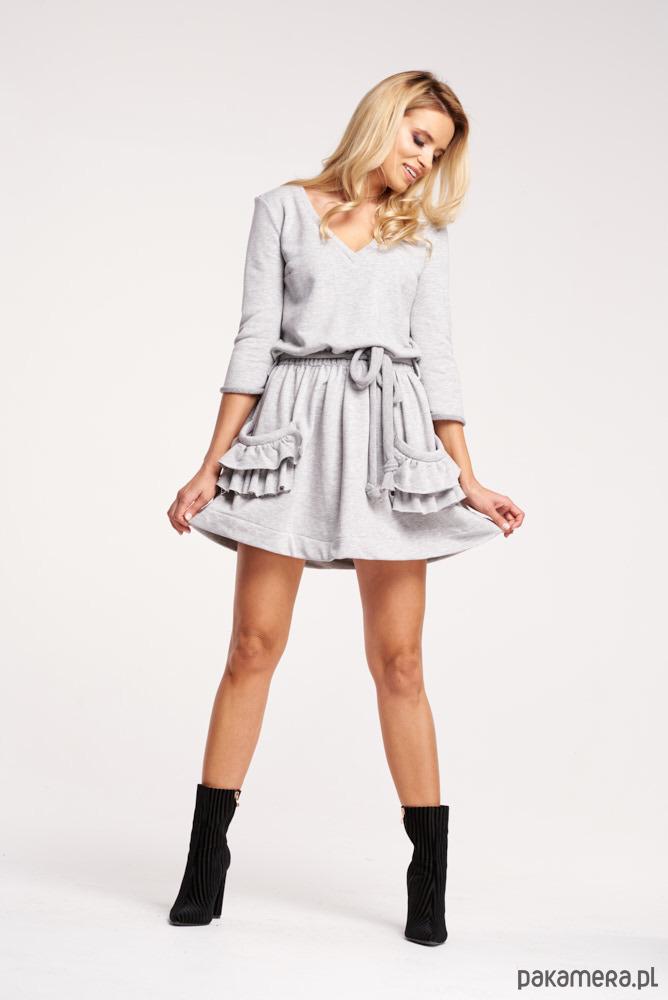 Sukienka z falbankami - szara