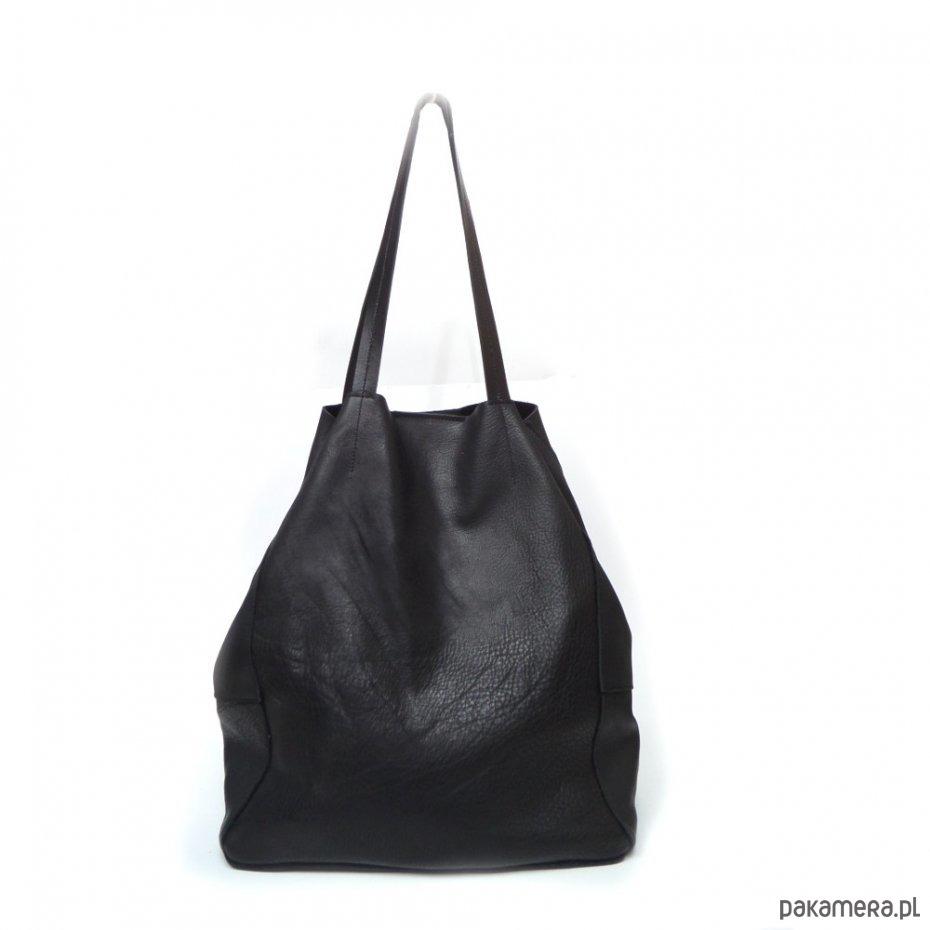 2223d7c3e1d65 Duża czarna skórzana torba - Sale !!!! - torby na ramię - damskie -  Pakamera.pl