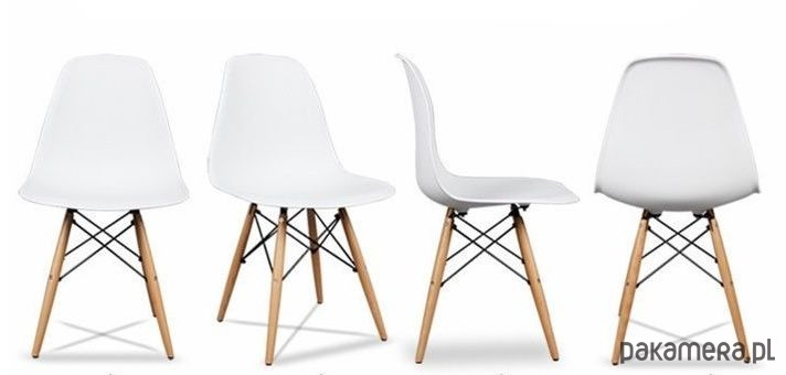 Bardzo dobra KRZESŁO ZESTAW KRZESEŁ 4x DO KUCHNI BIAŁE - meble - krzesła VV34