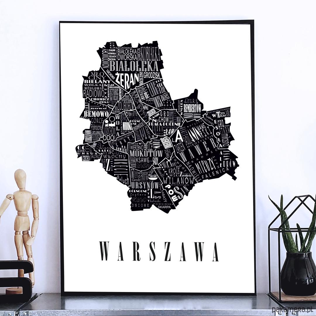 Mapa Warszawa Plakat Pakamerapl
