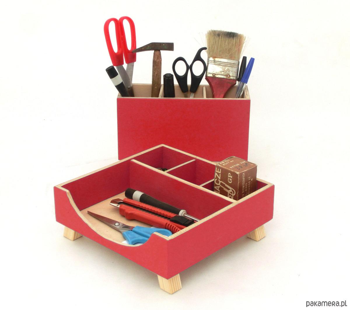 Organizer 2 przyborniki na biurko czerwone