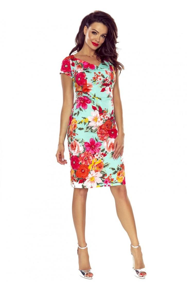 sukienka dzienna (kwiaty czerwone na mięcie)