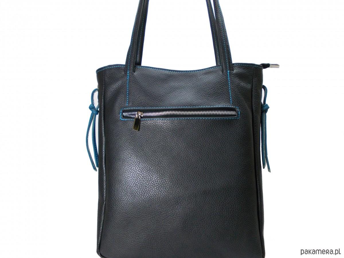 a56a9d7266164 Duża torba ze skóry naturalnej czarna - torebki do ręki - Pakamera.pl